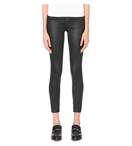 AG Skinny mid-rise leathrette cropped jeans (Super+black