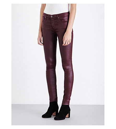 AG The Legging Ankle coated super-skinny mid-rise jeans (Leatherette+wine
