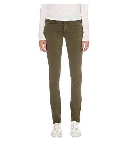 AG The Prima skinny mid-rise jeans (Sulfur+olive+night
