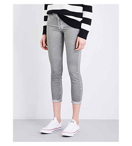 AG The Prima Crop skinny mid-rise jeans (Sea-soaked+silver+sage