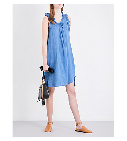 AG Dixie cotton-chambray dress (New+blue