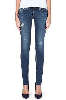 AG Destructed skinny mid-rise jeans