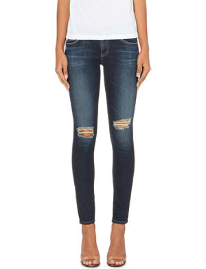 AG Distressed skinny mid-ride jeans