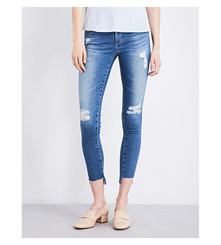 AG The Middi Ankle distressed skinny mid-rise jeans (Iconic