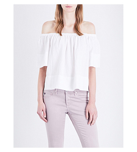 AG Sylvia off-the-shoulder twill top (True+white