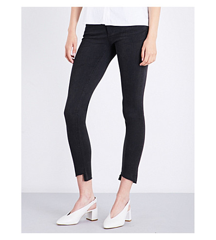 AG The Legging Ankle stepped-hem super-skinny mid-rise jeans (Rustic+black