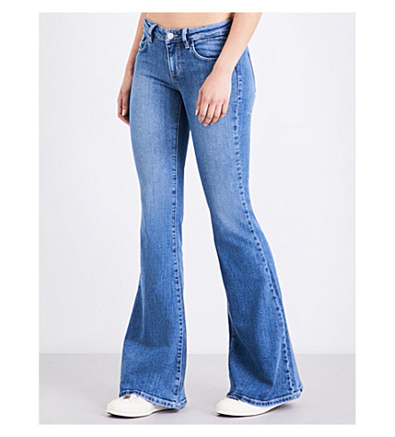GUESS X ASAP ROCKY Guess Originals x A$AP Rocky bell bottom flare low-rise jeans (Light+wash