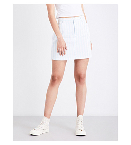 GUESS X ASAP ROCKY Guess Originals x A$AP Rocky stripe-patterned high-rise stretch-denim skirt (Blue/white+stripe