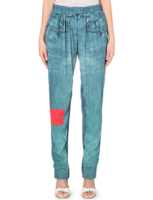 PREEN LINE Lexington denim-print jersey trousers