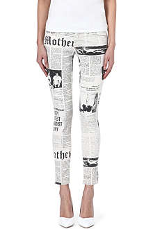 MOTHER The Looker printed skinny mid-rise jeans