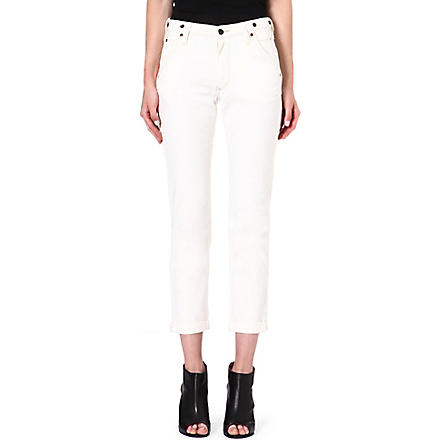 LEE Logger tapered straight-leg mid-rise jeans (Ecru