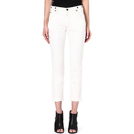 LEE Logger tapered straight-leg mid-rise jeans (Ecru