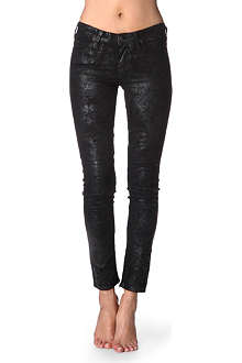 LEE Scarlett distressed coated skinny mid-rise jeans