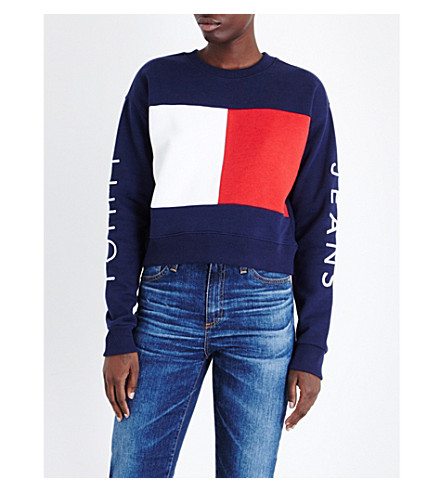 TOMMY JEANS Brand logo jersey sweatshirt (Peacoat multi