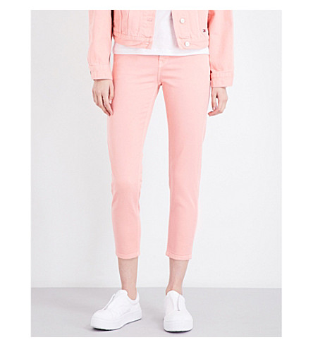 TOMMY JEANS Slim-fit high-rise cropped jeans (Quartz pink