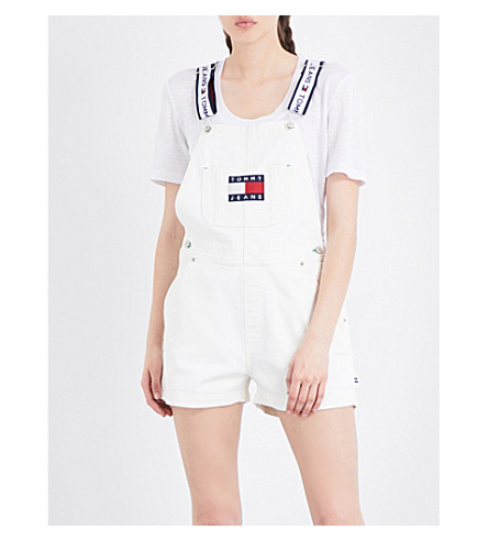 TOMMY JEANS 90s stretch-denim dungarees (White