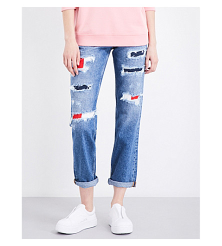 TOMMY JEANS Distressed 90s mom-fit high-rise jeans (Bright+blue+destruction.