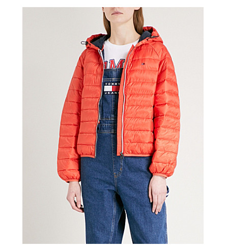 TOMMY JEANS Logo-embroidered shell-down puffer jacket (Red