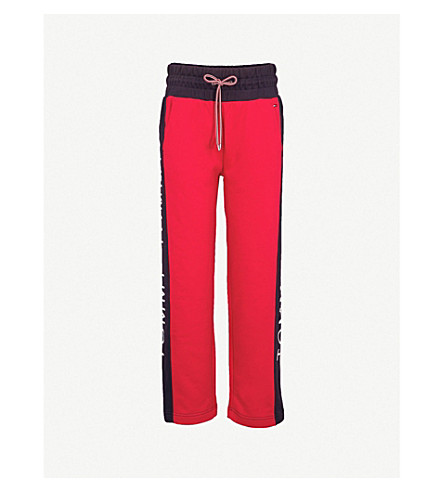 TOMMY JEANS Logo embroidered fleece-lined cotton-blend jogging bottoms (Red