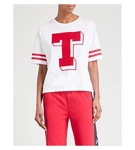 TOMMY JEANS Logo print cotton-jersey T-shirt (White
