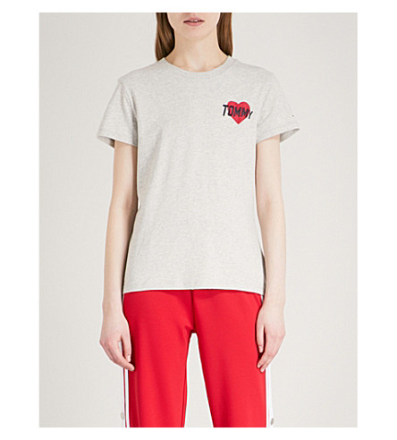 TOMMY JEANS Heart-print cotton T-shirt (Light+grey+heather