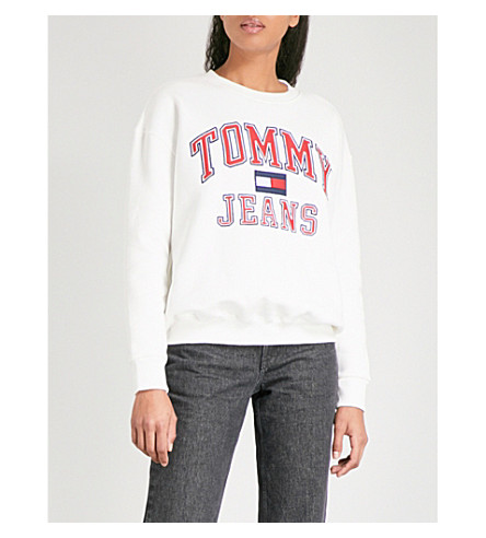 TOMMY JEANS 90s cotton-jersey sweatshirt (Bright+white