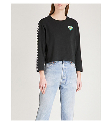 TOMMY JEANS Checkerboard-print cotton-jersey top (Tommy+black