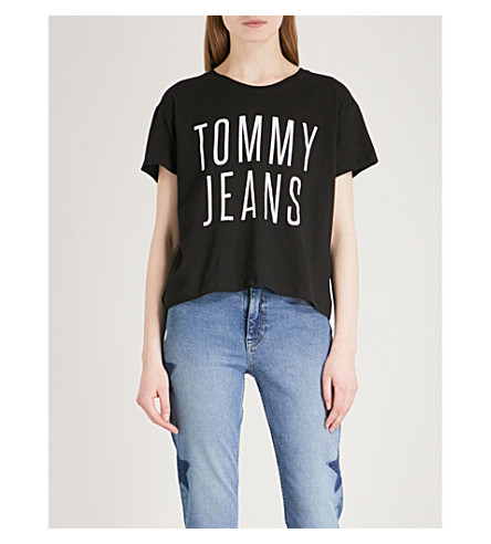 TOMMY JEANS Logo-print cotton-jersey T-shirt (Tommy+black