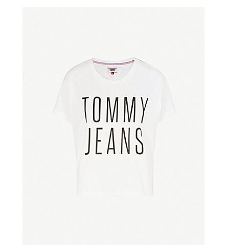 TOMMY JEANS Boxy-fit logo-print cotton T-shirt (Bright+white