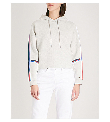 TOMMY JEANS Side-stripe cotton-blend hoody Light grey heather Cheap Price Free Shipping 7XLzXfgAq