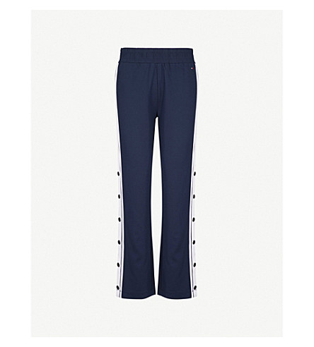 TOMMY JEANS Contrast-trim jersey jogging bottoms (Black+iris