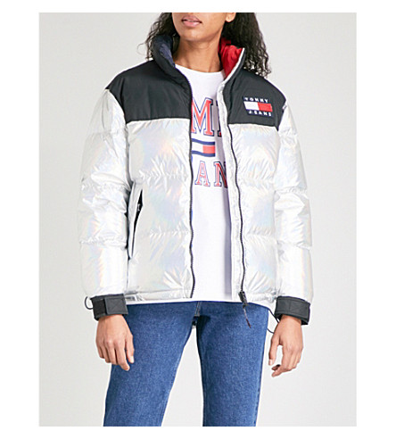 TOMMY JEANS Holographic-effect shell puffer down jacket (Metalic+silver+/multi