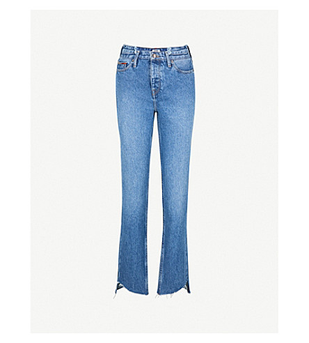 TOMMY JEANS Izzy stepped-hem slim-fit high-rise jeans (Mid+blue+rigid