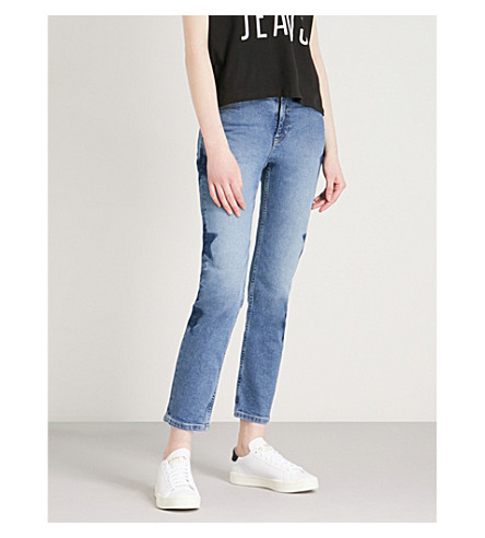 TOMMY JEANS Izzy star-detail slim-fit high-rise jeans (Galaxy+mid+blue
