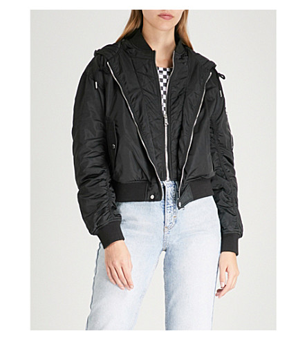 TOMMY JEANS Hooded bomber shell jacket (Black