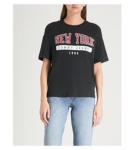 TOMMY JEANS 纽约平纹针织棉 T 恤 (黑色