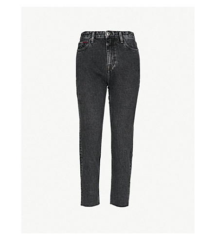 TOMMY JEANS Faded high-rise slim-fit cropped jeans (Black