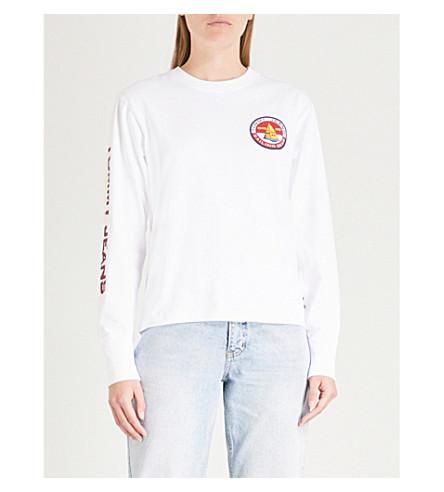 de manga estampado de top algodón JEANS Blanco de TOMMY larga de 0 0s jersey con brillante logo xwCSIIfXBq
