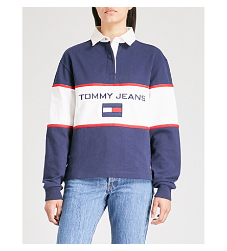 cotton Colour JEANS jersey blocked TOMMY cotton Peacoat sweatshirt TOMMY sweatshirt Colour JEANS blocked jersey vdpxqT0d