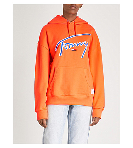TOMMY JEANS Signature cotton-jersey hoody (Orange+peel