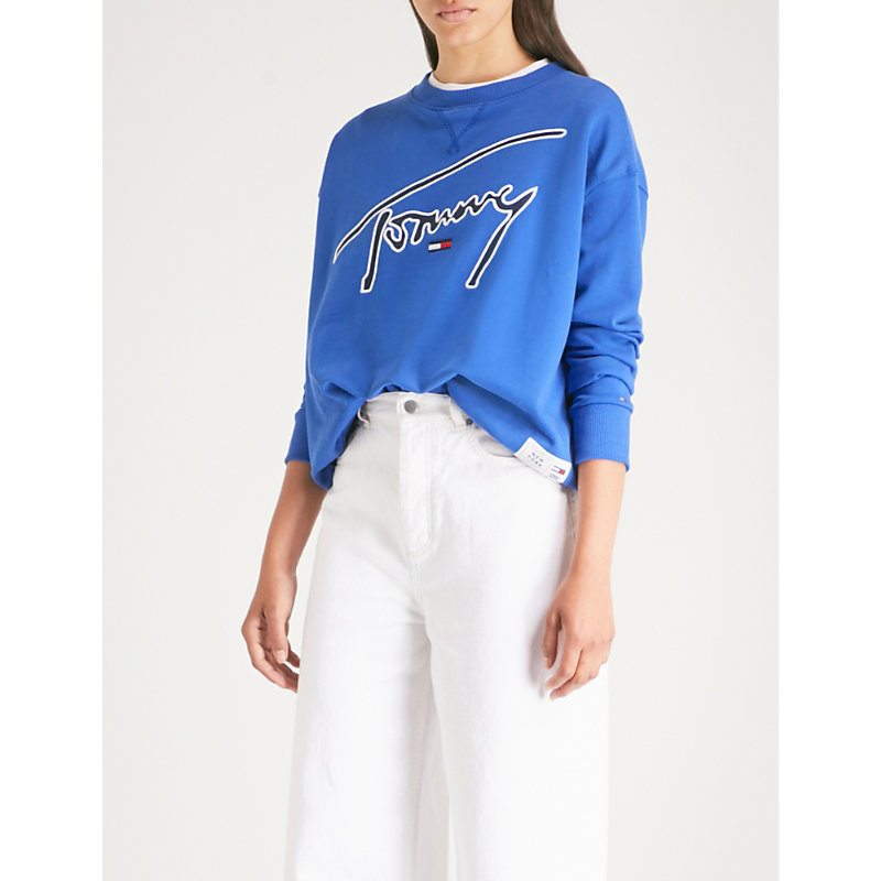Signature-embroidery cotton-jersey sweatshirt