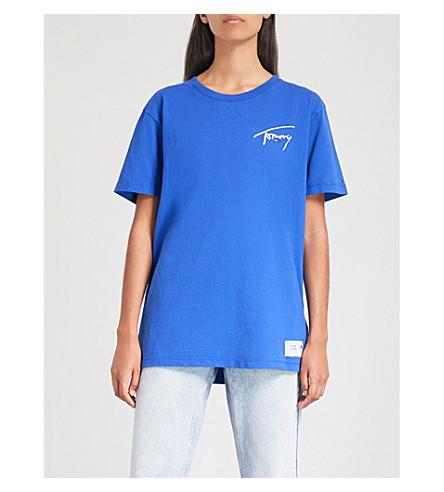 TOMMY JEANS Logo-print cotton-jersey T-shirt (Surf+the+web