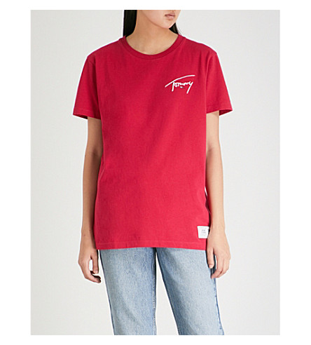 TOMMY JEANS Logo-print cotton-jersey T-shirt (Cerise