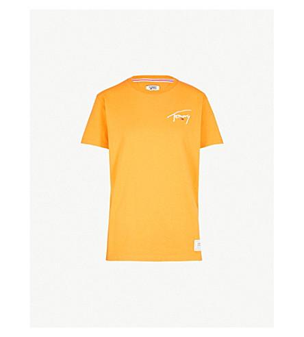 TOMMY JEANS 徽标打印平纹针织棉 T 恤 (橙色 + 果皮