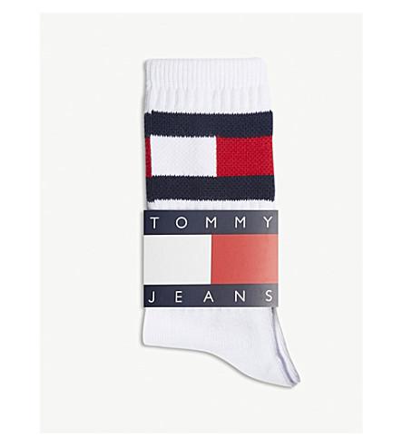 de calcetines Logo mezcla brillante TOMMY unisex algodón Blanco en JEANS 417w7xC6q