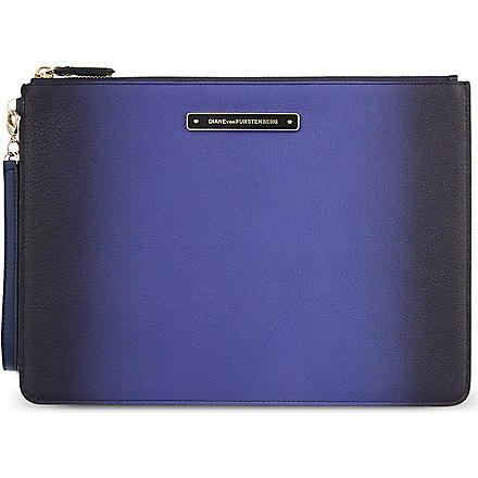 DIANE VON FURSTENBERG Ombre leather pouch (Iris/navy