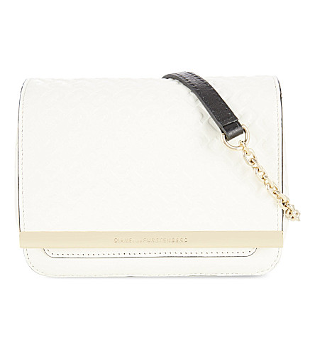 DIANE VON FURSTENBERG Embossed micro messenger bag (White