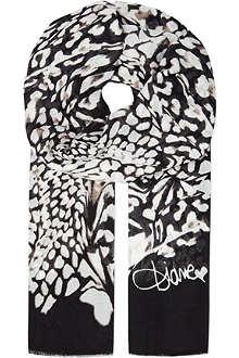 DIANE VON FURSTENBERG Grace feather leopard print scarf