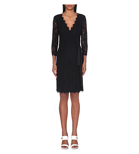 DIANE VON FURSTENBERG Julianna floral-lace wrap dress (Black