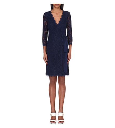 DIANE VON FURSTENBERG Julianna floral-lace wrap dress (Midnight